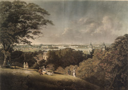View of the River Thames, the Cities of London and Westminster, with part of the Royal Hospital and adjacent Buildings taken from Greenwich Park